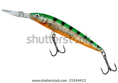 fishing lure - wobbler (hardbait) isolated on white background - stock photo