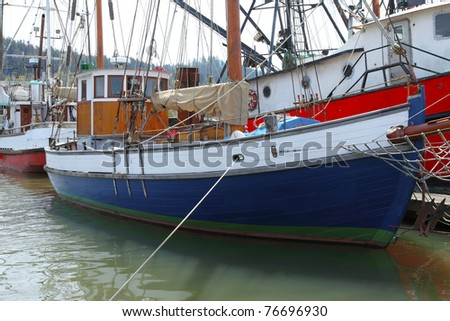 Fishing moored in  Astoria OR. - stock photo
