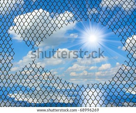 Fishing-net against sunny sky. - stock photo