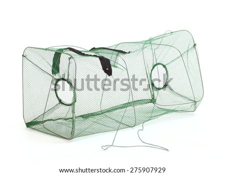 Fishing net. Fish basket for lobster, crayfish and crabs catching isolated on a white background. - stock photo