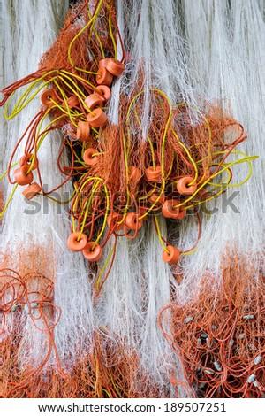 Fishing net Hung on fishing vessels. - stock photo