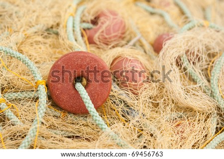fishing net macro - stock photo