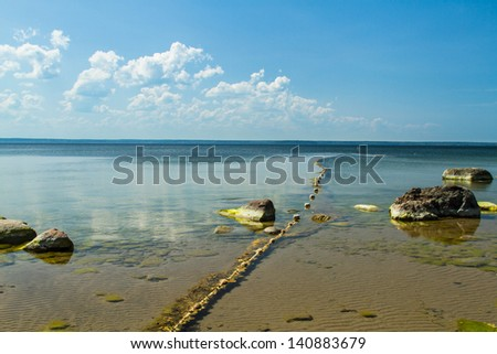 Fishing net on a calm seashore