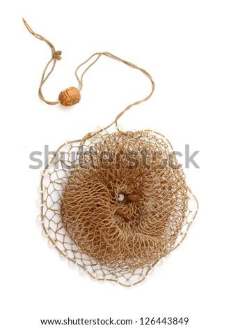 Fishing net on a white background. - stock photo