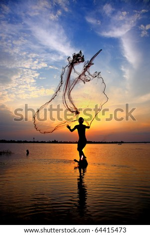 fishing net on sunset - stock photo