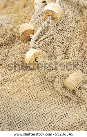 fishing net with floats - stock photo