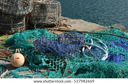 Fishing Nets and Crab Pots on the Quayside