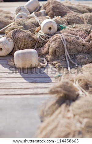 Fishing nets closeup - stock photo