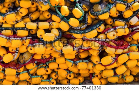 Fishing nets. colorful in a bunch - stock photo