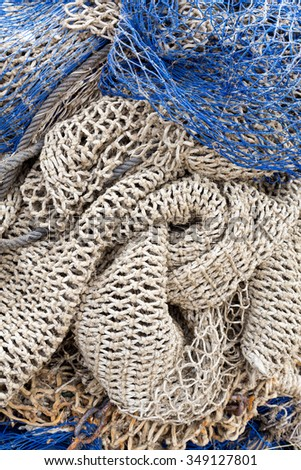 Fishing nets drying after the fishing - stock photo