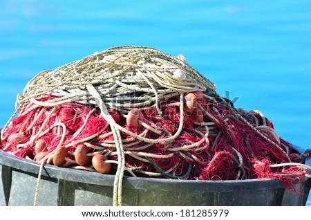 fishing nets in camogli, italy - stock photo