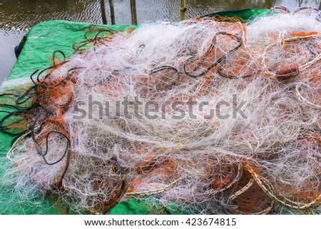Fishing nets of fishermen. - stock photo