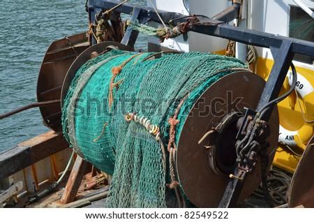 Fishing nets on Atlantic fishing trawler - stock photo