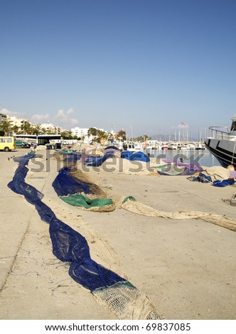 Fishing Nets on Quayside, Garrucha Harbor, Andalusia, Spain