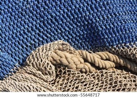 fishing nets still life background pattern fishermen tackle - stock photo