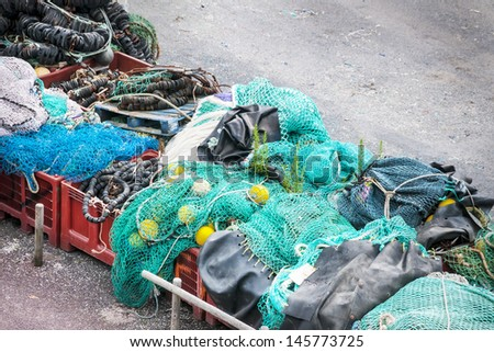 Fishing nets stored in a port in France