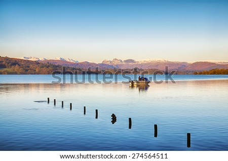 Fishing on Windermere - stock photo
