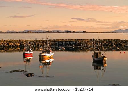 Fishing paradise, Lofoten Islands - bay with boats - stock photo