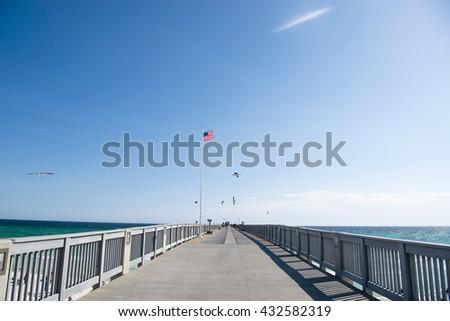 Fishing Pier at Panama City Beach, Florida - stock photo