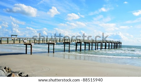 fishing pier at st augustine beach florida usa - stock photo