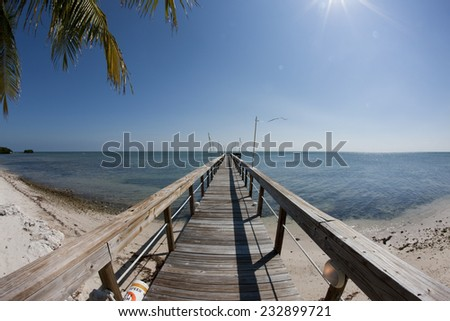fishing Pier at the Florida with the clear blue sky, ocean view - stock photo