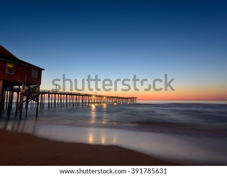 Fishing Pier at Twilight - stock photo