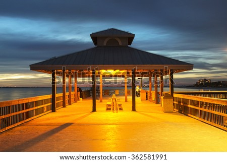 Fishing pier in Fort Myers Beach, Gulf of Mexico Coast, Florida. - stock photo