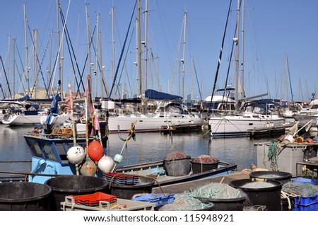 "Fishing port of Canet-en-Roussillon, commune on the ""c�´te vermeille"" in the Pyr�©n�©es-Orientales department, Languedoc-Roussillon region, in southern France. - stock photo"