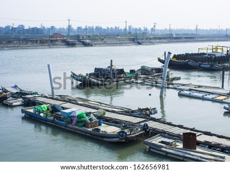 Fishing port vessels in Kouhu Township, Yunlin County, Taiwan. This place is thriving aquaculture.