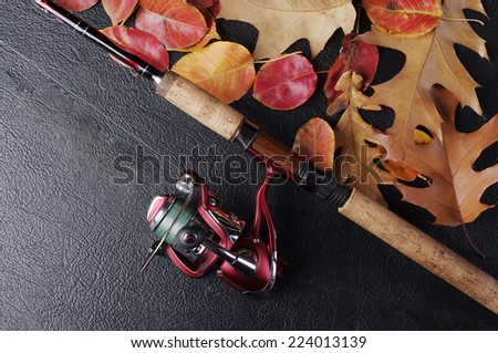 Fishing rod  and reel with autumn leaves on  black - stock photo