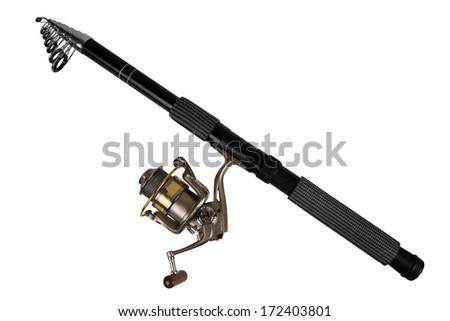 Fishing rod for fishing isolated on white background - stock photo