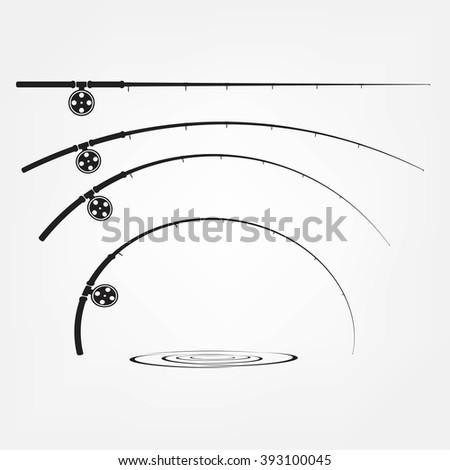 fishing rod icon - stock photo