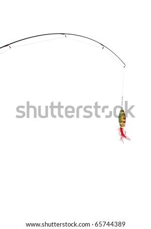 fishing-rod on white background - stock photo