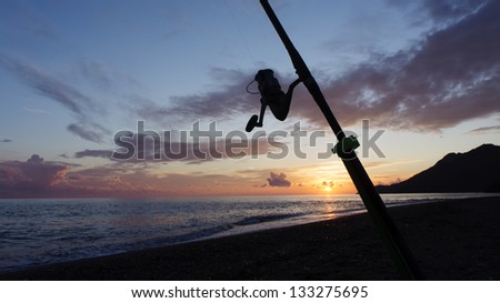 Fishing rod silhouette on the beach at sunset - stock photo