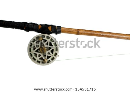 fishing-rod with old spinning-wheel on white background - stock photo