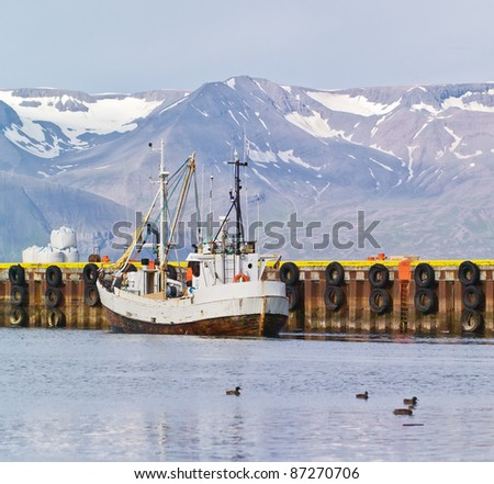 Fishing schooner in the port of Reykjavik city, Iceland - stock photo