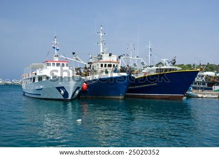 Fishing ships in the port of Vrsar, Istria, Croatia - stock photo