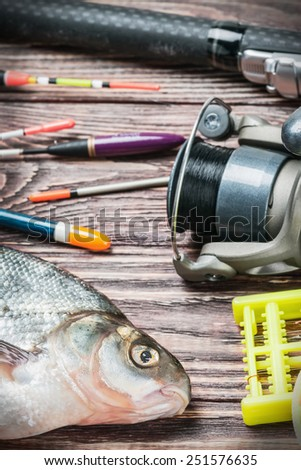 fishing tackle and fished bream on a wooden table. Focus on the eye of the fish - stock photo