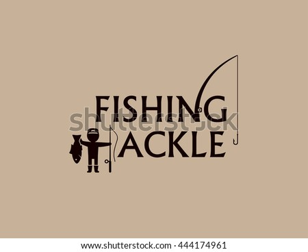 fishing tackle background with fishing rod and fisherman silhouette - stock photo