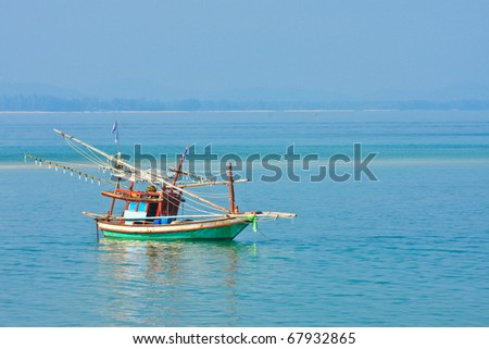 fishing thai boats and the blue sky, thailand