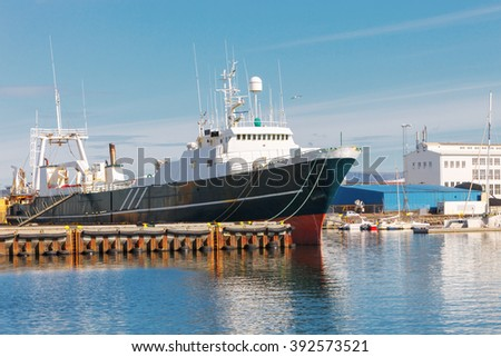 Fishing trawler anchored in Reykjavik Harbor, Iceland. Fish industry