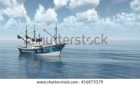 Fishing trawler Computer generated 3D illustration