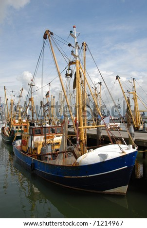 Fishing trawlers in the fishing port of Havneby on the Danish island of Romo - stock photo