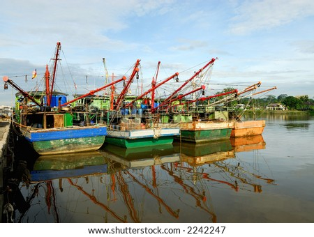 Fishing vessel at rest - stock photo