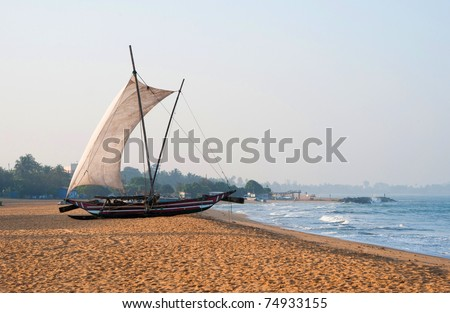 Fishing vessel at seaside in Sri Lanka - stock photo