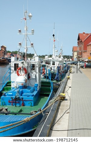 Fishing vessels in harbour in Ustka in Poland