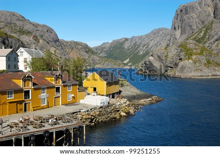 Fishing village and UNESCO World Heritage Site Nusfjord, Lofoten in summer 2006. - stock photo