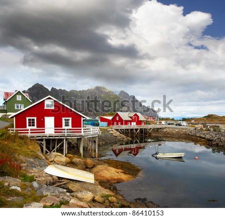Fishing village Henningsvaer in Lofoten islands in Norway - stock photo