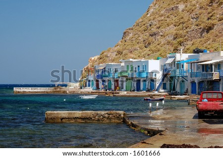 fishing village in Greece - stock photo