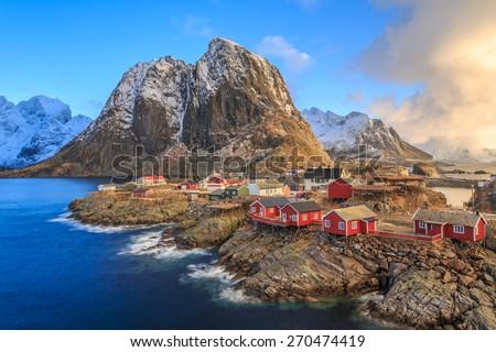 fishing village, Lofoten, Norway - stock photo